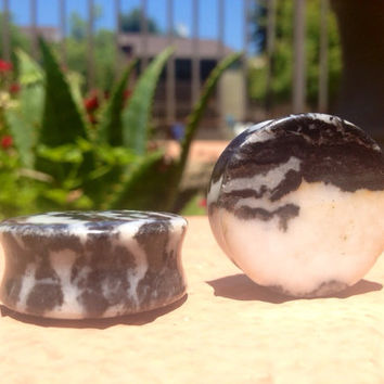 White Pyrite Stone Plugs 9/16 11/16 7/8 One Inch