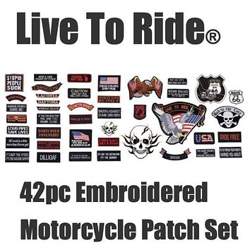 Live To Ride® 42pc Embroidered Motorcycle Patch Set