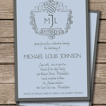 Michael Classic Monogram Initials Christening Baptism Party Invitation. Baby Boy. Custom Colors. Sky blue & Gray. Printable or I Print.