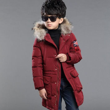 2016 Boys Jackets Coat Faux Fur Hooded Jackets Parkas Thick Winter Warm Children Outerwear Clothes Kids Clothing Q2092