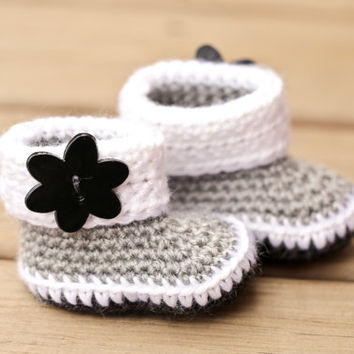 Crochet Baby Booties - Black Gray and White Baby Shoes with Black Flower