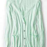 AEO Women's Real Soft Ribbed Knit Cardigan (Mint)