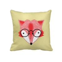 Cute Whimsical Bespectacled Funky Fox Picture Throw Pillows