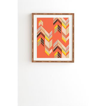 Gabi Chevron Coral Framed Wall Art