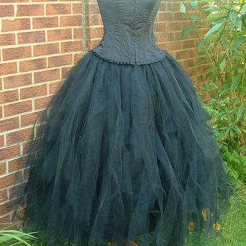 handmade womens ladies adult tutu skirt long black tulle goth weddings prom victorian ballet  US size 6 8 10 12 14 16 18 20   S M L XL
