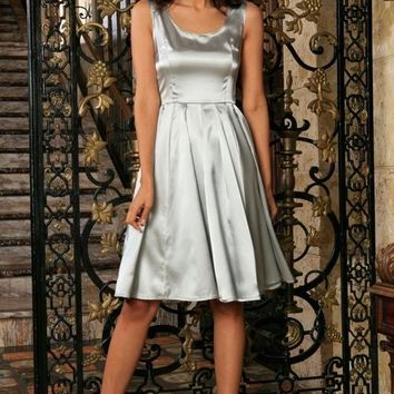 Silver Grey Charmeuse Sleeveless Prom Party Skater