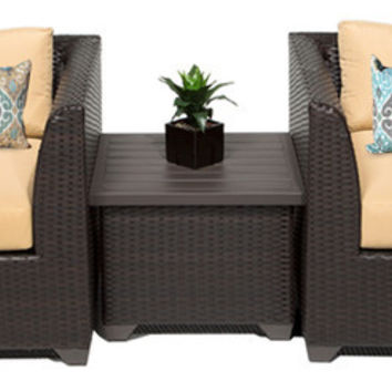 2016 Simple Design 3 Piece Outdoor Wicker Furniture Chatting Chairs Set