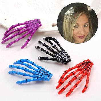 Kawaii 2Pcs/Lot Hallowmas Gift Gothic Punk Zombie Skeleton Hand Girls Hair Clips Skull Accessories Horror Barrette Kids Hairpins