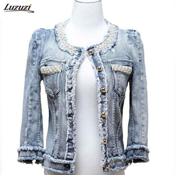 1PC Denim Jacket Pearls Beading Jeans Jacket Women Short Coat Jaqueta Feminina Casaco Feminino Spring Autumn Outerwear Z481