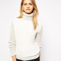Ganni Roll Neck Sweater With Contrast Sleeves - Mother of pearl