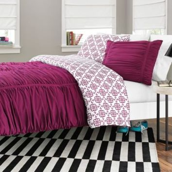 Reagan Reversible Comforter Set in Fuchsia