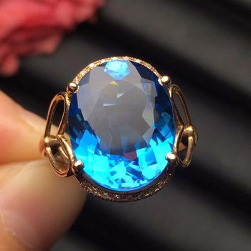 Fine Jewelry Customized Size Trendy Real 18K Rose Gold AU750 100% Natural Blue Topaz Gemstones Female Rings for Women Fine Ring