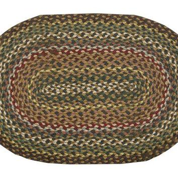 Fir/Ivory Braided Rug In Different Shapes And Sizes