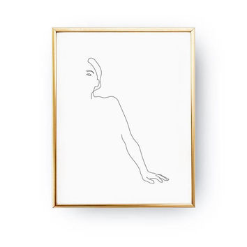 Woman's Hand Print, Woman Figure, Single Line Art, Woman Illustration, Female Body, Line Drawing, Woman Art, Black And White, Minimal Art