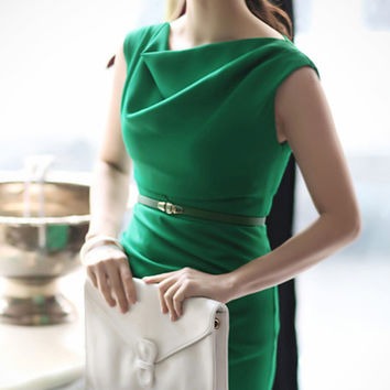 Classy Beauty. Emerald Green Cowl Neck Shift Dress. Work Or Cocktail Dress
