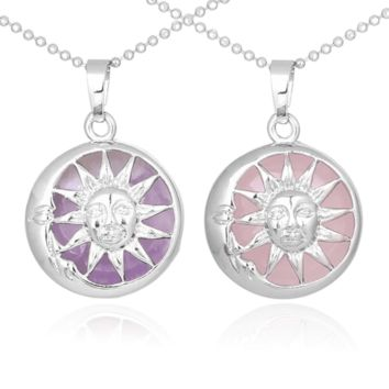 Sun And Moon Healing Stone Openwork Necklace ff67447c27