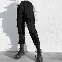 Women Simple Solid Color Pocket High Waist Loose Leisure Cargo Pants Trousers