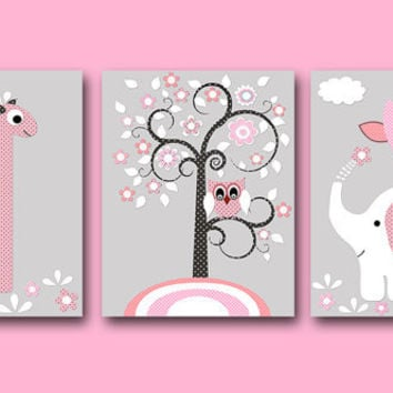 Elephant Giraffe Baby Nursery Art Print Children Wall B