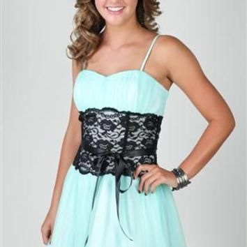 Short Lace Mesh Dress with Spaghetti Straps and Lace Panel Waist