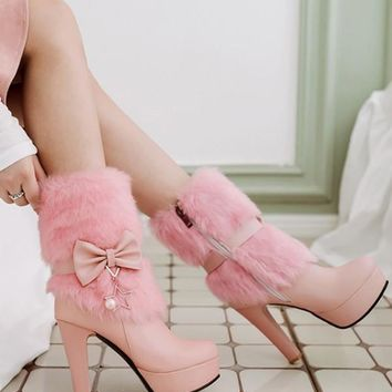 New Pink Round Toe Bow Pearl Fashion Mid-Calf Boots