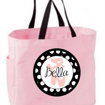 Pink Dance Slippers with Polka Dots - Personalized Pink Tote Bag