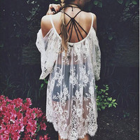 Swimsuit Cover Up ~ OMG Crazy Beautiful Floral Lace Dress, White Crochet Lace Top, Swimsuit Cover Up, Summer Beach Cover Up.