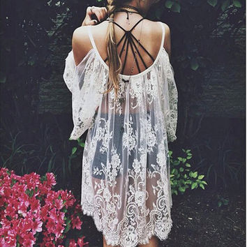 OMG Crazy Beautiful Floral Lace Coverup