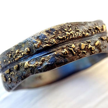 viking wedding band men, molten wedding ring gold silver, celtic wedding ring gold fusion ring, bold mens ring, organic wave ring