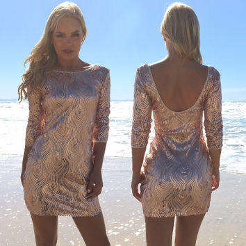 Strike A Match Rose Gold Sequin Party Dress