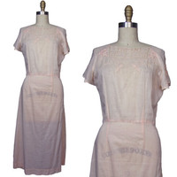Early 1930s Peach Embroidered Cotton Day Dress