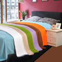 Throw Blanket --1PC 100% Cotton Knitted Blanket  Adult Blanket Spring/Autumn Sofa Blanket