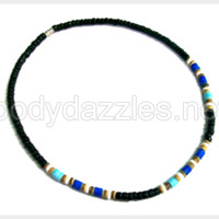 Necklace with Blue Puka and Black Coco Beads Great Gift 18 inch