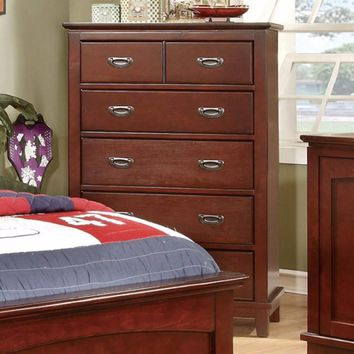 Transitional Style Wooden Chest With Drawers, Cherry Brown