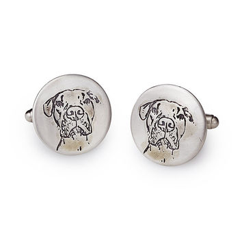 Custom Pet Portrait Cufflinks | pet gift for men