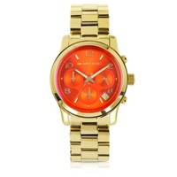 Michael Kors Designer Women's Watches Runway Flash Lens Gold Tone Stainless Steel Women's Watch