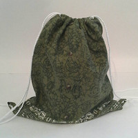 Green Tribal Print Upcycled Drawstring Backpack, Cinch Sack, Hipster Back Pack OOAK