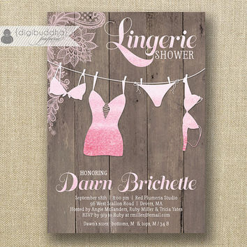 Pink Ombre Lingerie Shower Invitation Blush Pink Beach Shabby Chic Bra Panties Personal Modern Script Printable Digital or Printed- Dawn