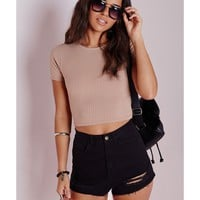 Missguided - Capped Sleeve Ribbed Crop Top Taupe