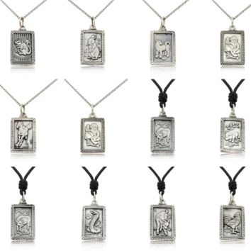 Rectangle Chinese Zodiac 92.5 Sterling Silver Necklace Pendant