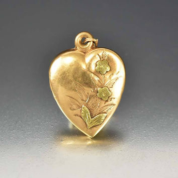 Antique Puffy Heart Charm 14K Rose Gold Pendant