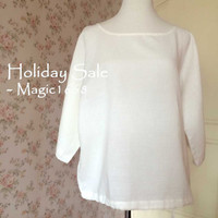 2015 Plus size linen tunic in white. Oversized boho tunic. Summer linen clothing for women. Linen shirt blouse - magic1668
