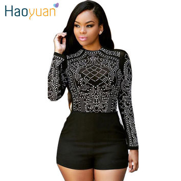 2017 Summer Bodysuit Women Ladies Playsuit Long Sleeve Beading Top Short Pants Black Woman Jumpsuit Romper