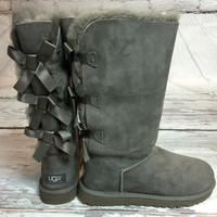 UGG BAILEY BOW TALL BOOTS IN GREY