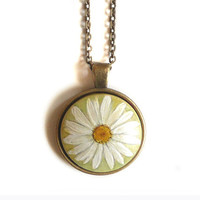 Lovely Art Pendant, Daisy Flower Necklace, Hand Painted Jewelry,  Watercolor Painting on Wood, Antique Bronze Cable Chain