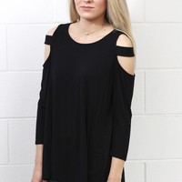 Show Some Shoulder Cutout L/S {Black}