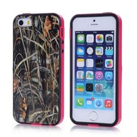 Tech Express (Tm) Pink Grass Tree Camo Camouflage Flexible TPU 2 Piece Snap On Real Design Cover Case for Apple Iphone 5 / 5s
