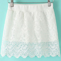 White Cutout Lace Scalloped Mini Skirt