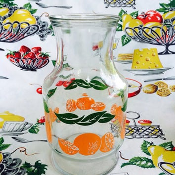 1970s Anchor Hocking Orange Juice OJ Carafe Pitcher Orange Graphics Breakfast Vintage Kitchen