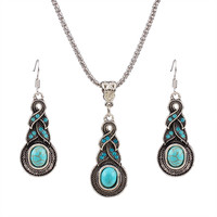 Turquoise Necklace silver plated with earrings jewelry sets party
