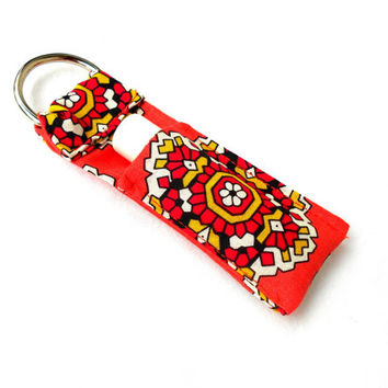 Coral Mandala Key Chapstick Keychain - Pink Orange Lip Balm Holder Cozy
